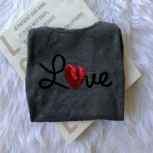 NEW Express Long Sleeve Scoop Neck LOVE Sweater